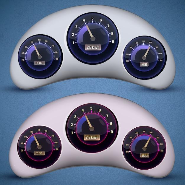 Twee geïsoleerde snelheidsmeter-interface met drie wijzerplaten op de snelheidsmeters van de auto Gratis Vector