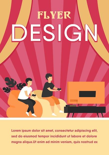 Twee gelukkige opgewonden tiener kinderen zittend op de bank op tv met gamepads en videogame spelen Gratis Vector