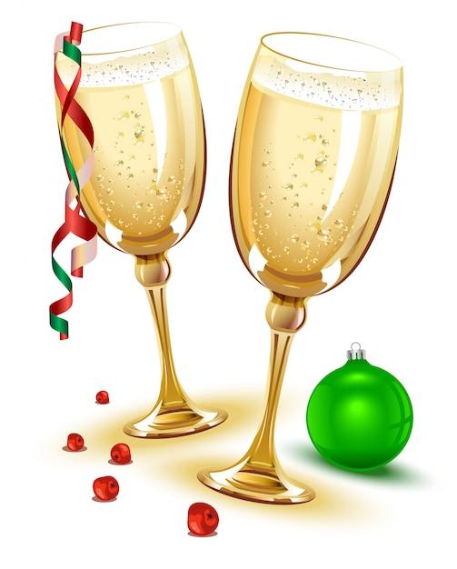 Twee glazen champagne. oudejaarsavond Premium Vector