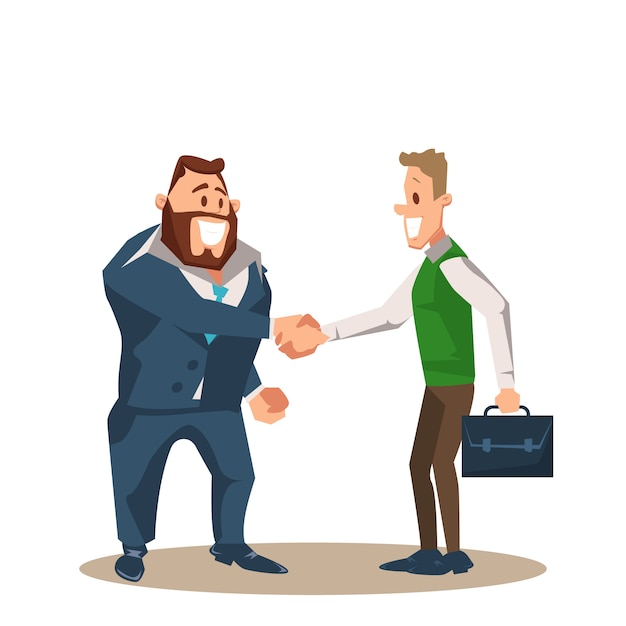 Twee glimlachende zaken man character shake hand Premium Vector