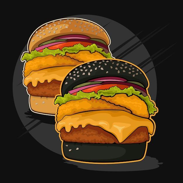 Twee hamburgers Premium Vector