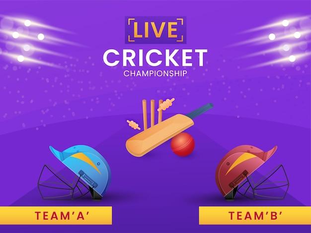 Twee helmen van deelnemen team a & b met apparatuur en lichteffect op paarse achtergrond voor live cricket championship. Premium Vector