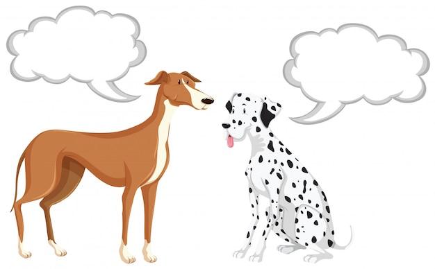 Twee honden met tekstballonnen Gratis Vector