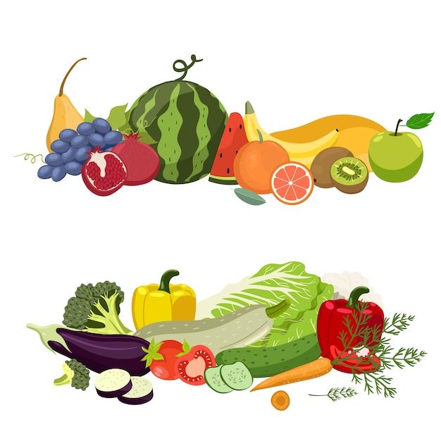 Twee hopen groenten en fruit Premium Vector