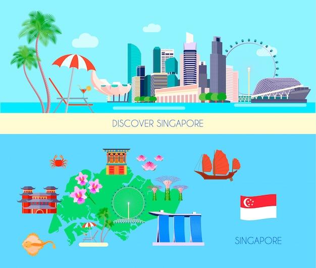 Twee horizontale gekleurde die de cultuurbanner van singapore wordt geplaatst met ontdekt de vectorillustratie van singapore en van singapore krantekoppen Gratis Vector
