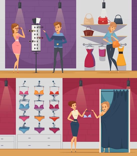 Twee horizontale het proberen winkel vlakke mensensamenstellingen met meisje in lingerieopslag en meisje in winkel van toebehoren Gratis Vector