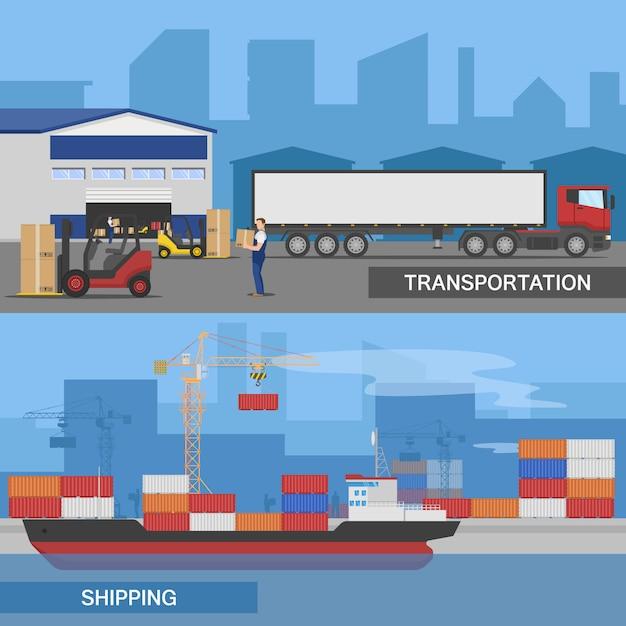 Twee horizontale platte logistieke panoramams illustratie set met transport en verzending beschrijvingen Gratis Vector