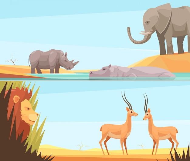 Twee horizontale wilde dieren banners instellen Gratis Vector
