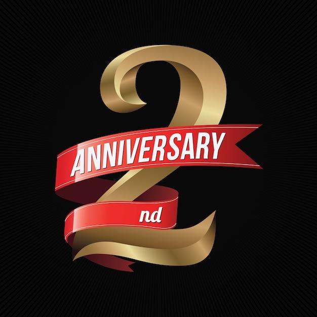 Twee Jaar Verjaardag Gouden Logo Viering Met Rood Lint Vector
