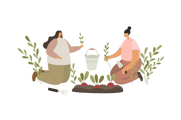 Twee jonge meisjes die zaailingen op de bedden planten. mensen die in de tuin werken. Premium Vector