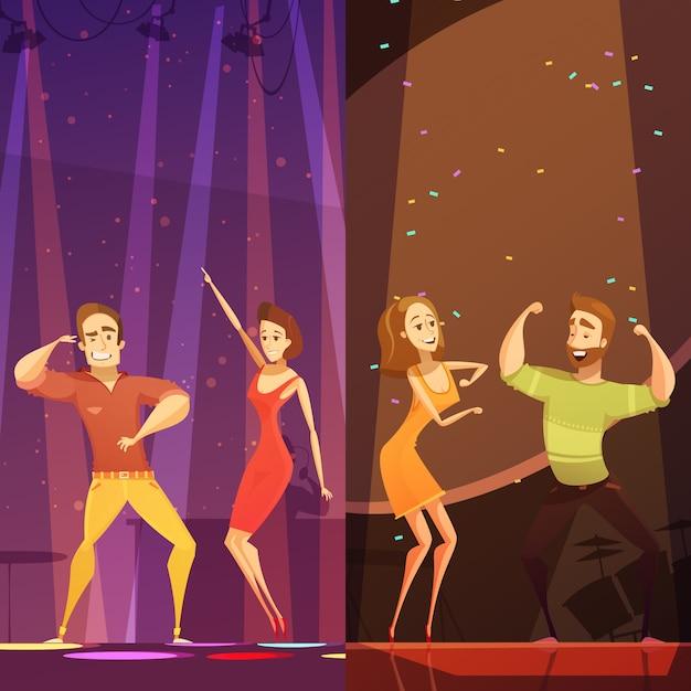 Twee jonge paren die in kleurrijke schijnwerpers bij discoclub dansen Gratis Vector