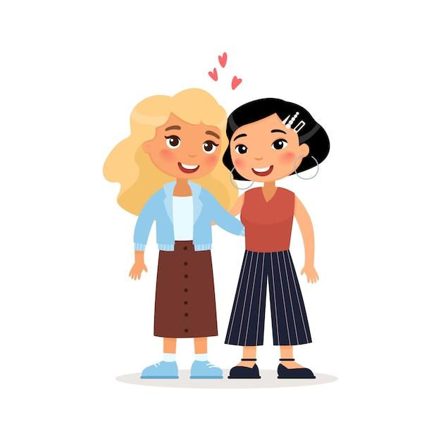 Twee jonge vrouwen of lesbische paar knuffelen. internationale vrienden. grappig stripfiguur. Premium Vector