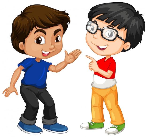 Twee jongenskarakters met gelukkig gezicht Gratis Vector