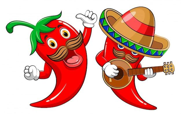 Twee karakter hete chili gitaar spelen en zingen Premium Vector