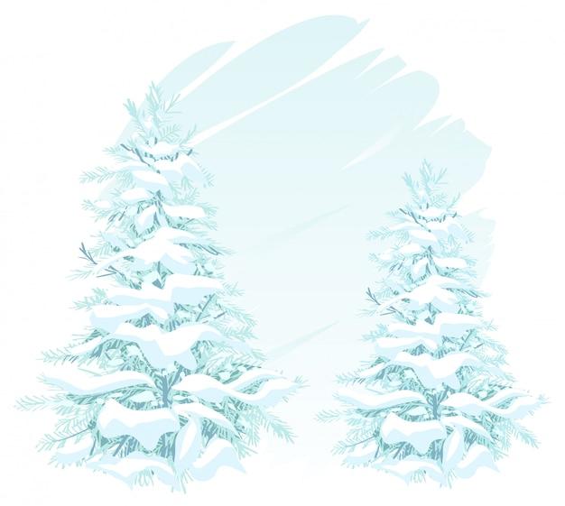 Twee kerstbomen in de sneeuw Premium Vector