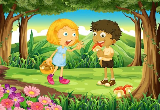 Twee kinderen in het midden van het bos Gratis Vector