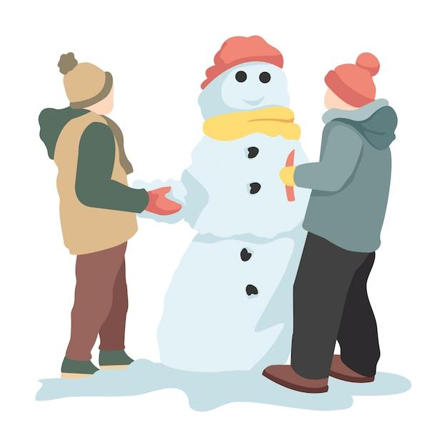 Twee kinderen maken in de winter sneeuwpoppen Premium Vector
