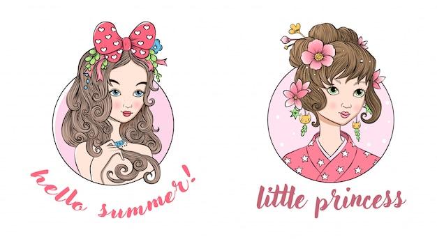 Twee kleine mooie prinsessen Premium Vector