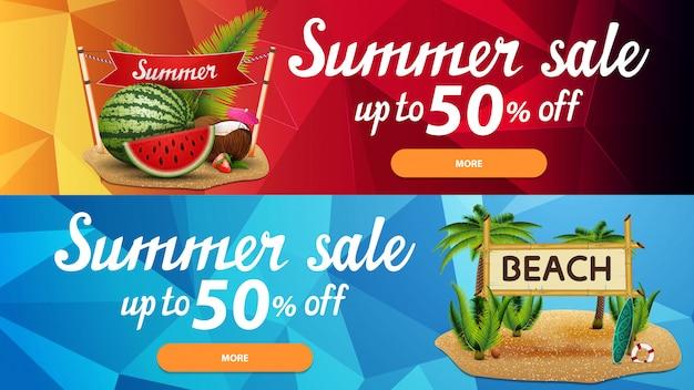 Twee korting webbanners voor zomer verkoop met veelhoekige textuur Premium Vector