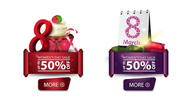 Twee kortingsbanners voor de dag van de vrouw met knopen, cupcake en namen toe Premium Vector