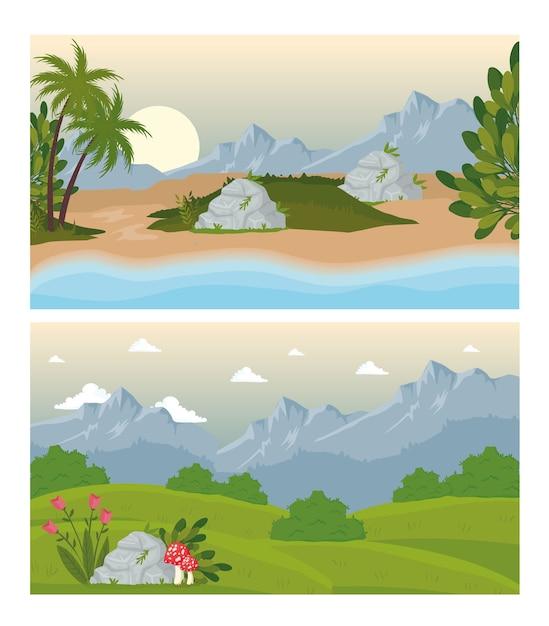 Twee landschapsscènes met bloemen en strandontwerp Premium Vector