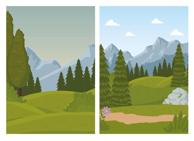 Twee landschapsscènes met dennenbosontwerp Premium Vector