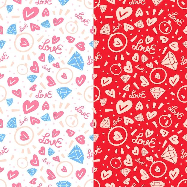 Twee liefde doodle naadloze patroon Premium Vector