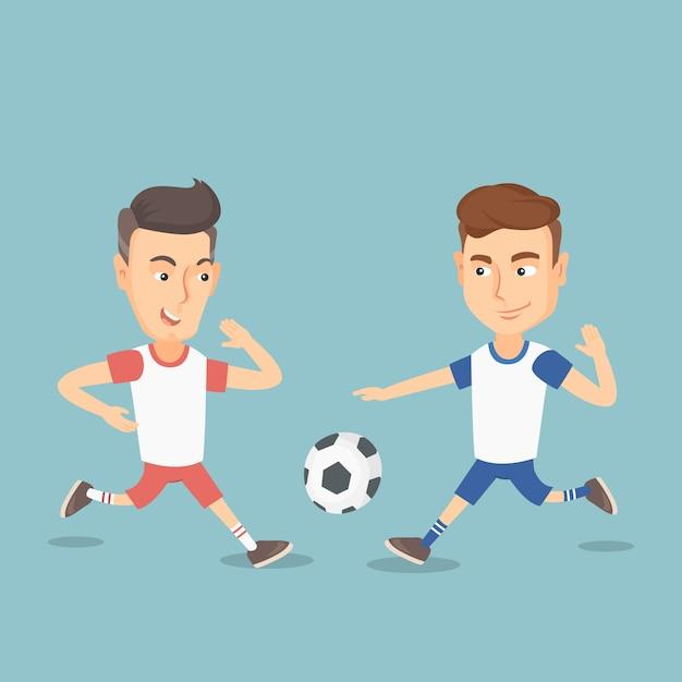 Twee mannelijke voetballers vechten voor een bal. Premium Vector