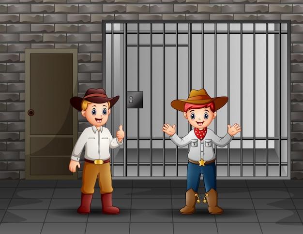 Twee mannen bewaken een gevangeniscel Premium Vector