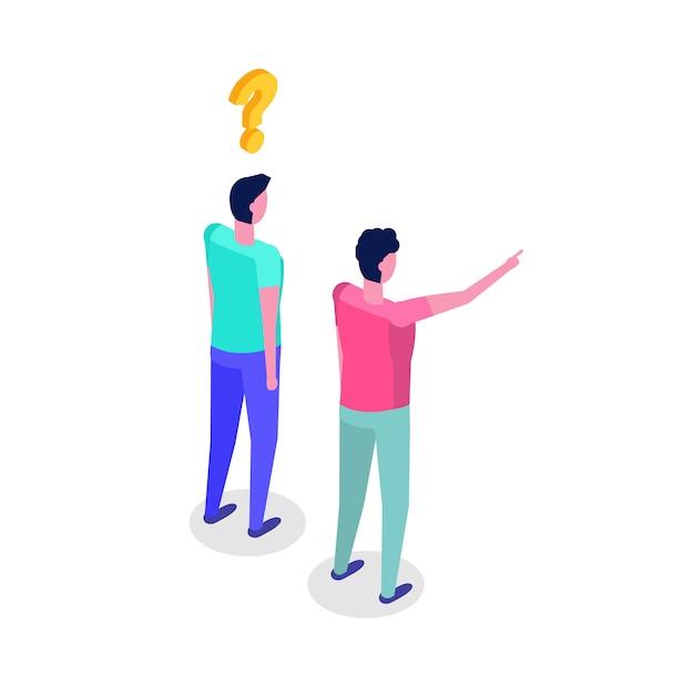 Twee mannen bij elkaar. karakter isometrische illustratie. Premium Vector