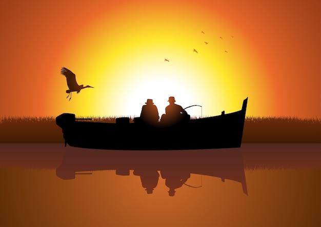 Twee mannen die op boot vissen Premium Vector