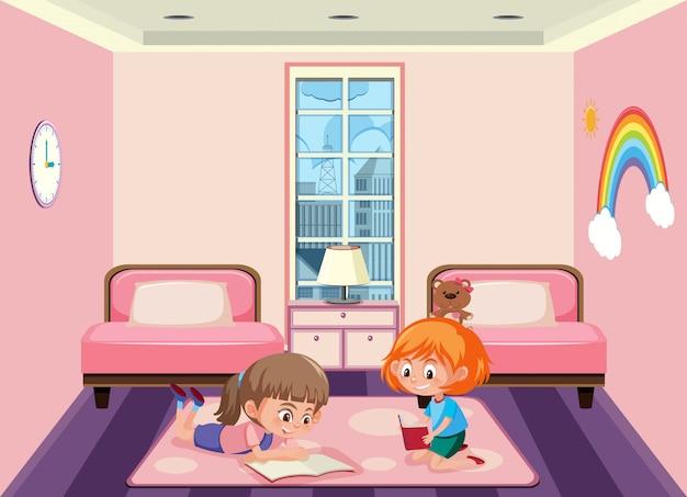 Twee meisjes die een slaapkamer delen   Vector   Premium Download