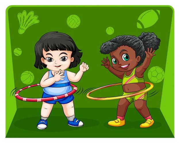Twee meisjes doen hulahoops Gratis Vector