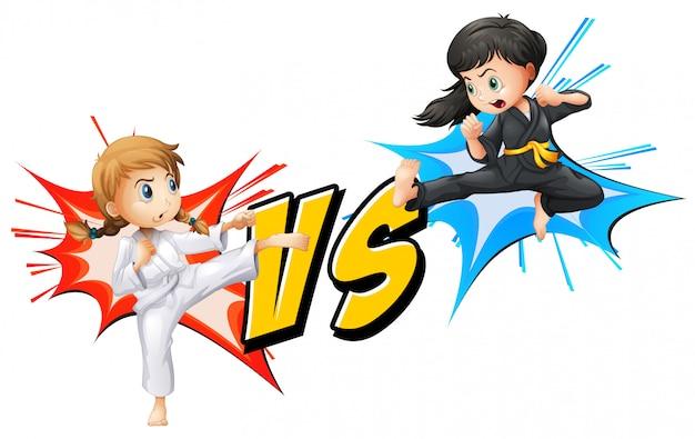 Twee meisjes vechten Gratis Vector
