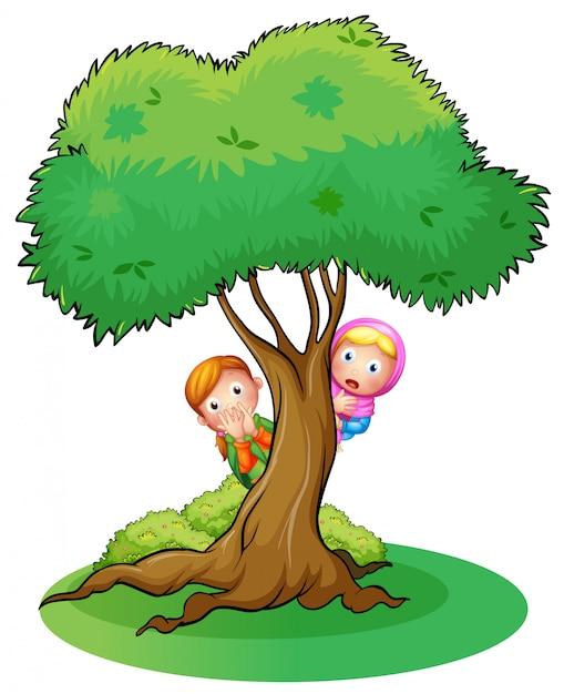 Twee meisjes verstoppen zich in de boom Premium Vector