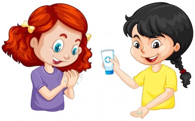 Twee meisjes wasing hand met handgel op witte achtergrond Gratis Vector