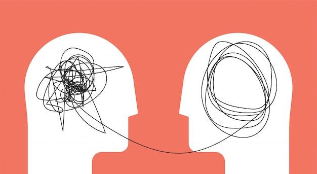 Twee mensen hoofd silhouet psychotherapie concept. Premium Vector