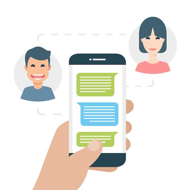 Twee mensen sms'en aan de telefoon Gratis Vector