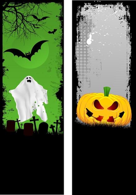 Twee ontwerpen van grunge halloween-banners Gratis Vector