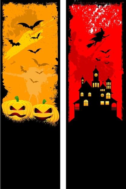 Twee ontwerpen van grunge stijl halloween banner set Gratis Vector