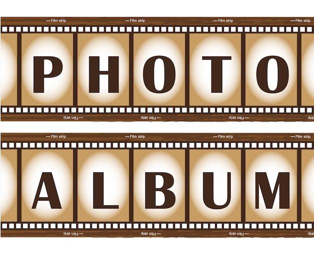 Twee oude film strepen fotoalbum Premium Vector