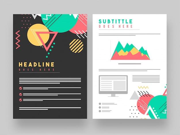 Twee pagina's corporate brochure met abstracte geometrische elementen. Premium Vector