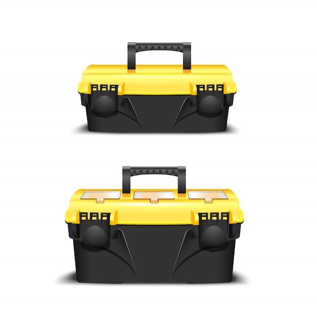Twee plastic zwarte gereedschapskist, gele dop. toolkit voor bouwer of industriële winkel. realistische doos voor gereedschap Premium Vector