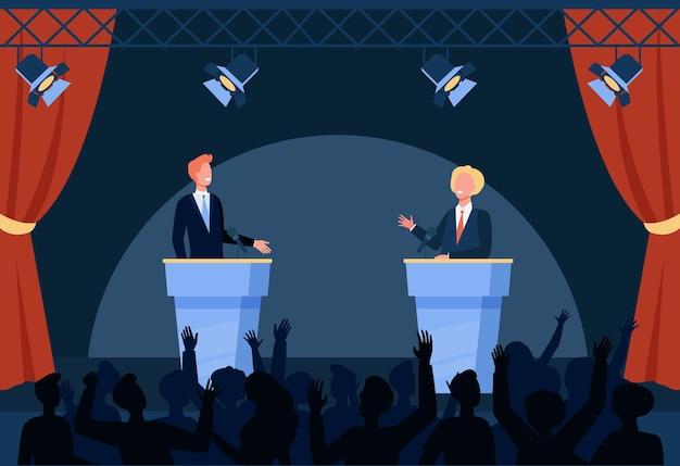 Twee politici die deelnemen aan politieke debatten voor publiek geïsoleerde vlakke afbeelding Gratis Vector