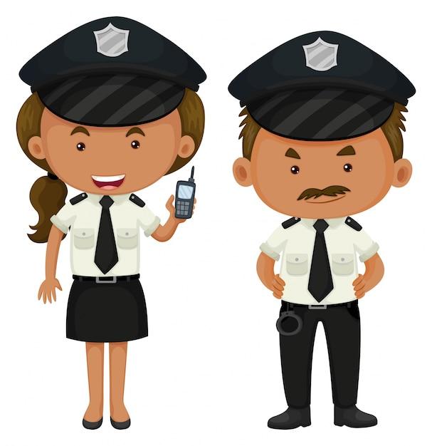 Twee politiemannen in zwart-wit uniform Premium Vector