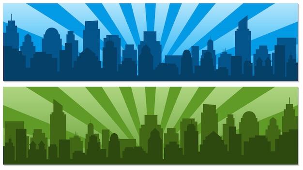 Twee posters met zonsopgang en moderne silhouetstad in pop-artstijl Premium Vector