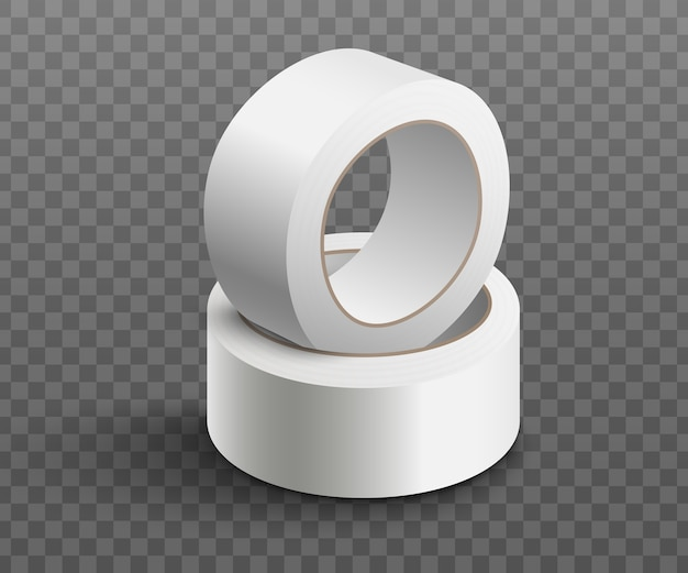 Twee rollen witte plakband op elkaar gestapeld - realistisch Premium Vector
