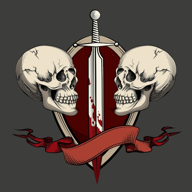 Twee schedels met zwaard en lint. sjabloon voor tatoeage en labels. Gratis Vector