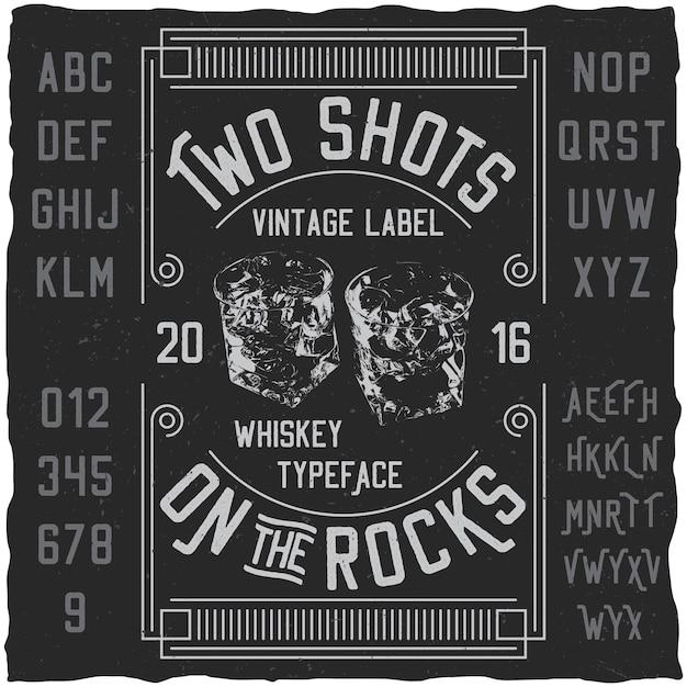 Twee schoten poster met woorden over whisky lettertype met eenvoudige labelontwerp illustratie Gratis Vector