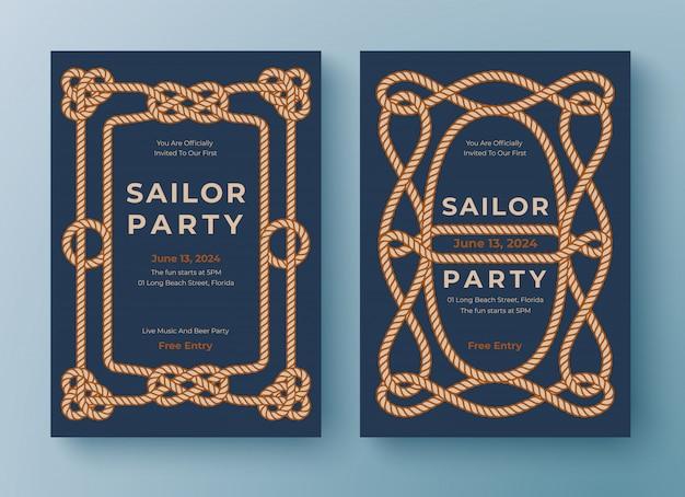 Twee sjablonen voor nautische posters. touwkaderrand. Premium Vector